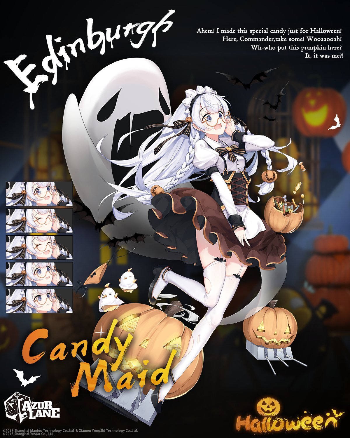 1girl alternate_costume apron azur_lane blue_eyes blush braid candy character_name closed_eyes copyright_name edinburgh_(azur_lane) edinburgh_(candy_maid)_(azur_lane) english_commentary english_text expressions eyebrows_visible_through_hair food french_braid ghost gold_bar halloween halloween_costume highres jack-o'-lantern jacknavy maid maid_apron maid_headdress official_art open_mouth pumpkin round_eyewear side_braids smile solo surprised thigh-highs white_apron white_hair