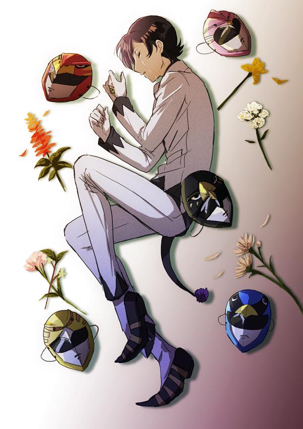 1boy black_hair closed_eyes crying flower gloves gradient gradient_background joker_(persona_2) kiyomiya kurosu_jun lying male_focus mask parted_lips persona persona_2 pom_pom_(clothes) spoilers tears white_gloves