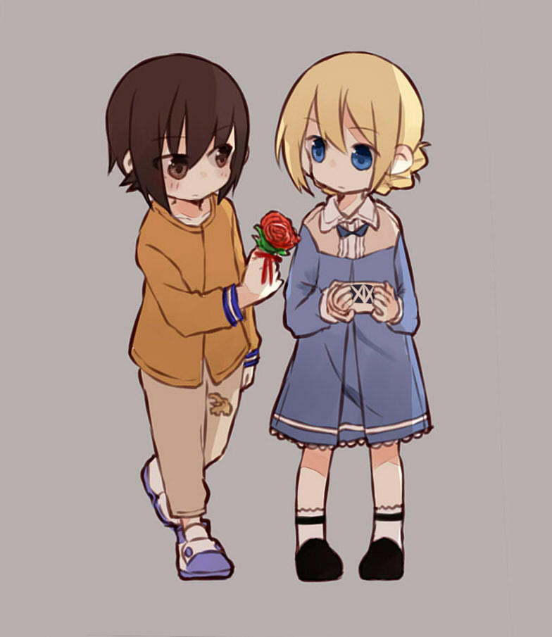 2girls bangs black_footwear blonde_hair blue_dress blue_eyes blue_footwear braid brown_eyes brown_hair brown_pants casual closed_mouth collared_dress cup darjeeling dress eyebrows_visible_through_hair flower fud full_body girls_und_panzer grey_background holding holding_flower long_sleeves looking_at_another medium_dress multiple_girls nishizumi_maho orange_shirt pants print_pants rose shirt shoes short_hair simple_background socks standing standing_on_one_leg teacup tied_hair twin_braids white_legwear younger