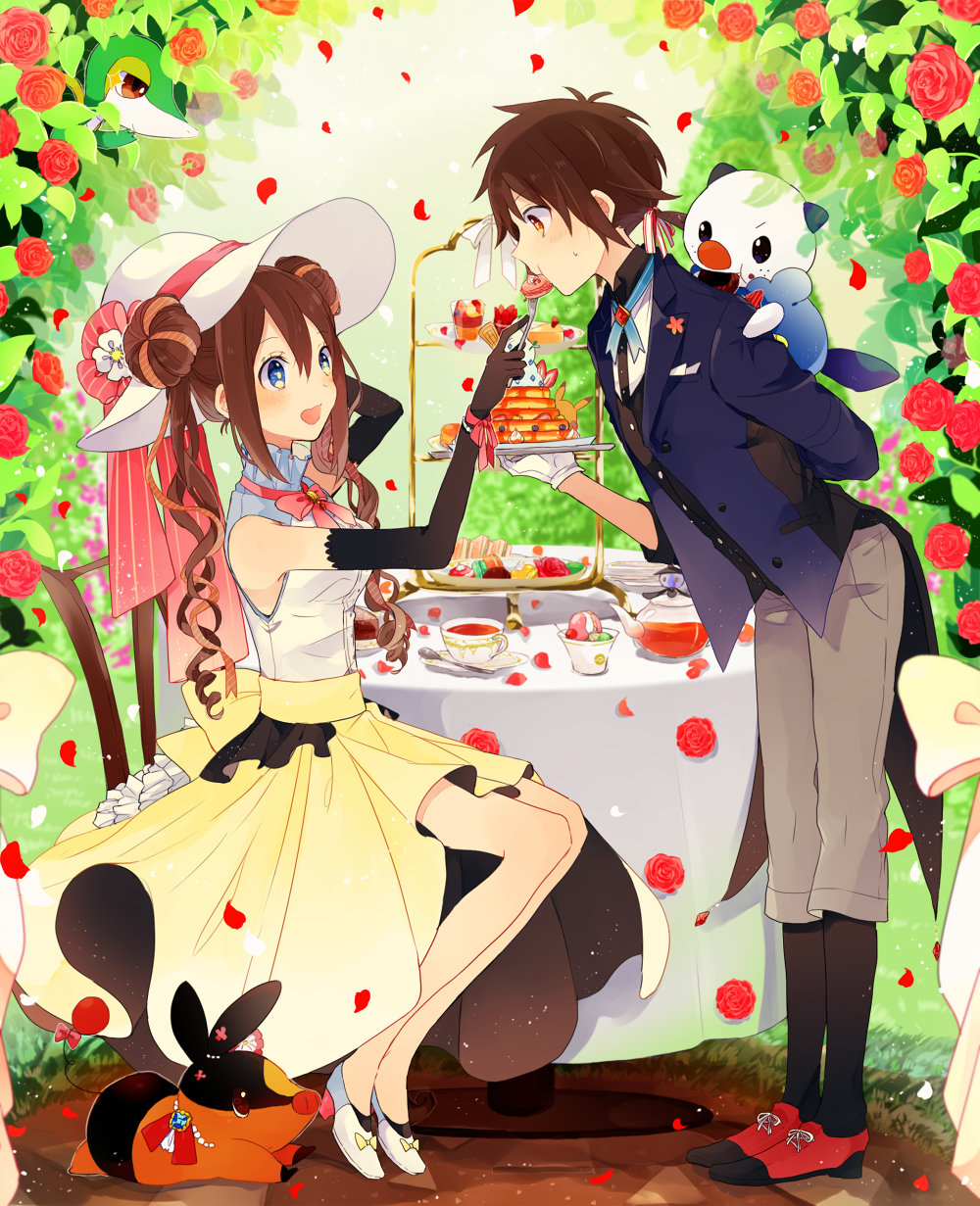 1boy 1girl alternate_costume bare_shoulders blue_eyes blush breasts brown_eyes brown_hair buttons cake chair coat cream cup day double_bun eating elbow_gloves eye_contact feeding flower food food_in_mouth food_on_face frilled_shirt_collar frills garden gloves grass hair_bun hair_ribbon half-closed_eyes hat hat_flower high_heels highres holding holding_plate jewelry kitchenset kyouhei_(pokemon) lampent leaf leaning_forward long_hair long_skirt looking_at_another lying medium_breasts mei_(pokemon) neck_ribbon on_shoulder open_mouth oshawott outdoors pants petals pikachu plate pokemon pokemon_(game) pokemon_bw2 ribbon rose rose_petals shirt shoes sitting skirt sleeveless sleeveless_shirt smile snivy spoon standing sun_hat table tail tail_ribbon tea teacup tepig tuxedo twintails yellow_skirt