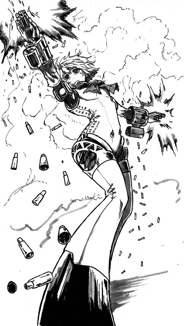 1girl aegis aegis_(persona) android casing_ejection dual_wielding firing koyubi_(littlefinger1988) muzzle_flash persona persona_3 robot_joints shell_casing short_hair smoke solo