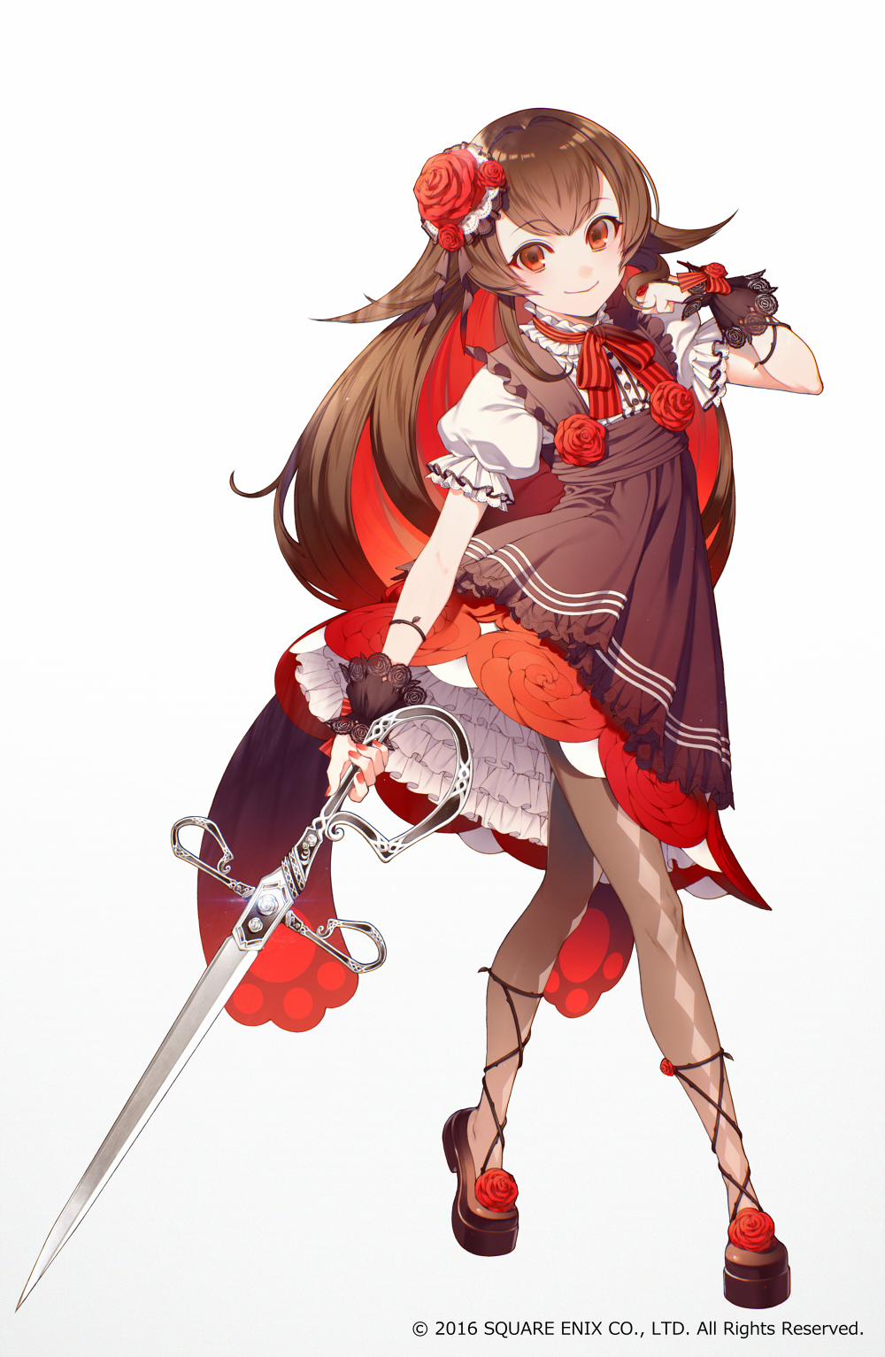 1girl akabara_(grimms_notes) apron argyle argyle_legwear brown_hair brown_legwear brown_shoes buttons commentary_request dress flower frilled_dress frilled_sleeves frills full_body grey_background grimms_notes hair_intakes hair_ornament hand_up highres holding holding_sword holding_weapon long_hair multicolored_hair nail_polish neck_ribbon official_art pantyhose puffy_short_sleeves puffy_sleeves red_dress red_eyes red_nails red_rose redhead ribbon rose rose_hair_ornament see-through shirotaka_(5choume) shoes short_sleeves sidelocks simple_background smile solo standing striped sword thorns two-tone_hair weapon wrist_cuffs