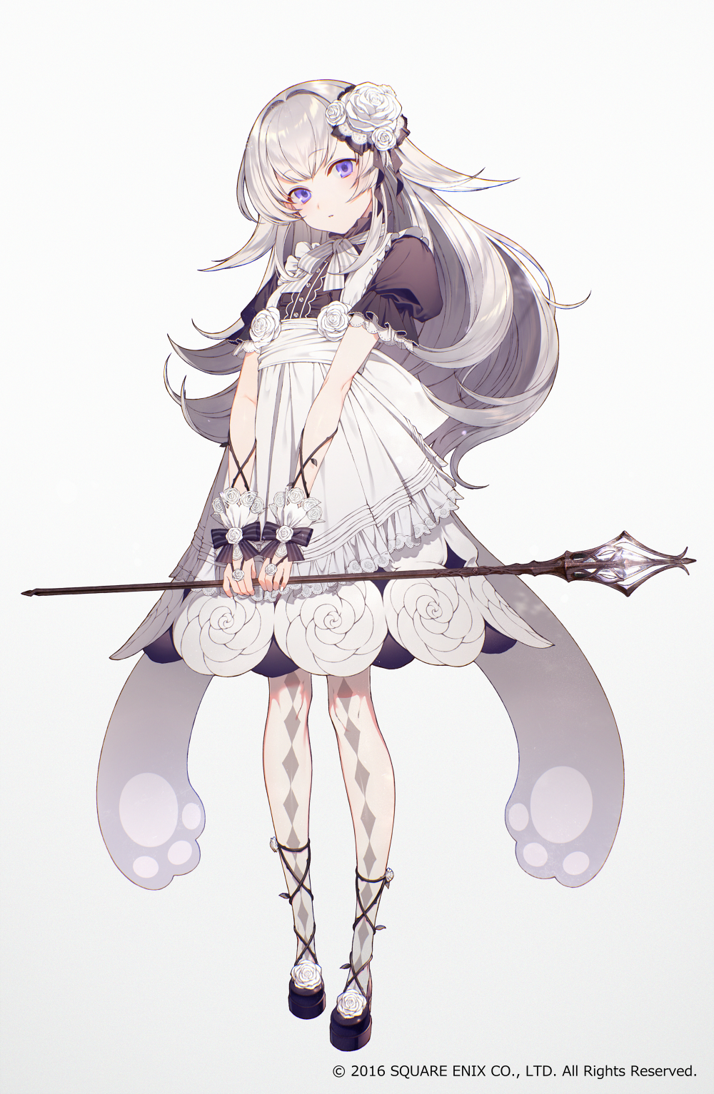 1girl apron argyle argyle_legwear black_shirt black_shoes bow buttons commentary_request dress flower frilled_dress frilled_sleeves frills full_body grey_background grimms_notes hair_intakes hair_ornament highres holding holding_staff long_hair looking_at_viewer nail_polish neck_ribbon official_art pantyhose parted_lips puffy_short_sleeves puffy_sleeves ribbon rose rose_hair_ornament see-through shirosoubi_(grimms_notes) shirotaka_(5choume) shirt shoes short_sleeves sidelocks simple_background solo staff standing striped striped_bow thorns violet_eyes white_apron white_dress white_hair white_nails white_rose wrist_cuffs