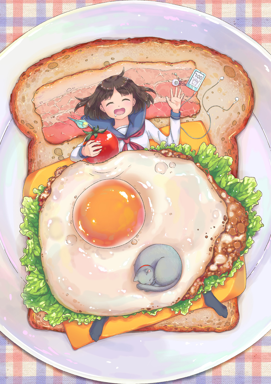 1girl bacon bangs bird black_legwear bread brown_hair cat cheese collar drooling earbuds egg eyes_closed food fried_egg girl_on_a_plate in_food iphone keychain lettuce lying meat minigirl on_back open_mouth original parted_bangs plate school_uniform serafuku short_hair sleeping socks toast tomato vegetable