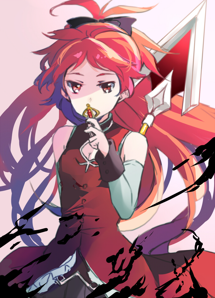1girl breasts christy cleavage eyelashes hair_ornament hair_ribbon long_hair looking_at_viewer magical_girl mahou_shoujo_madoka_magica polearm ponytail red_eyes redhead ribbon sakura_kyouko simple_background sleeveless solo soul_gem spear very_long_hair weapon