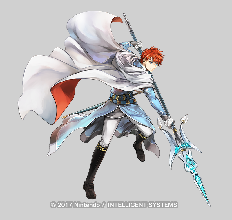1boy belt blue_eyes boots cape circlet copyright_name eliwood_(fire_emblem) fire_emblem fire_emblem:_the_blazing_blade fire_emblem_heroes full_body gloves grey_background male_focus official_art polearm redhead solo spear sword wada_sachiko weapon