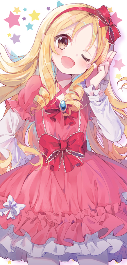 1girl arm_up arms_behind_back bangs blonde_hair blush bow brown_eyes chocho_(homelessfox) dress drill_hair eromanga_sensei hair_bow headband long_sleeves looking_at_viewer one_eye_closed open_mouth pink_dress pointy_ears red_bow red_ribbon ribbon solo star white_bow white_legwear yamada_elf