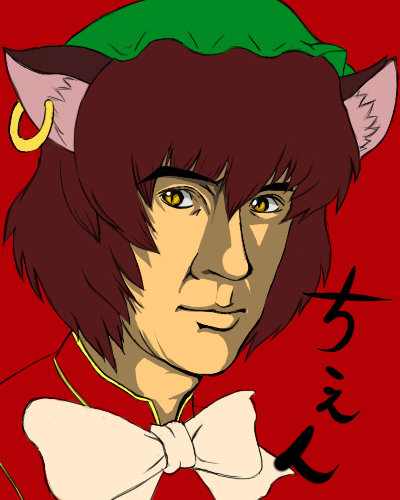 bad_id brown_hair cat_ears chen earrings jackie_chan jewelry lowres namida_boshi parody pun touhou yellow_eyes