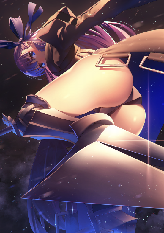 1girl armor armored_boots blue_eyes blush boots crotch_plate fate/extra fate/extra_ccc fate_(series) hair_ribbon long_hair looking_at_viewer meltlilith nagareboshi night night_sky purple_hair revealing_clothes ribbon sky solo thigh-highs very_long_hair