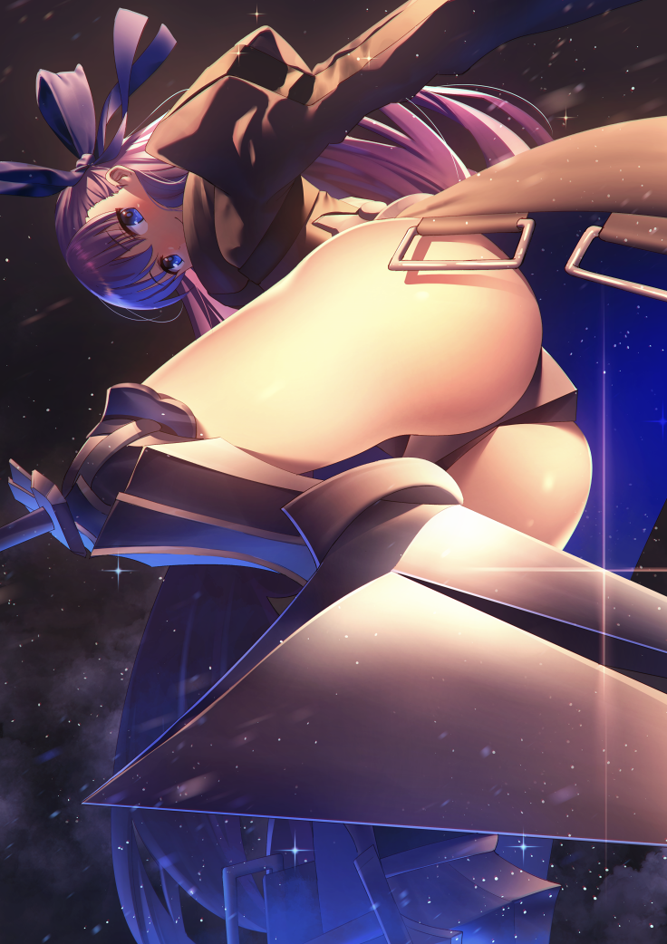 1girl armor armored_boots ass blue_eyes blush boots crotch_plate fate/extra fate/extra_ccc fate_(series) from_behind hair_ribbon long_hair looking_at_viewer meltlilith nagareboshi night night_sky purple_hair revealing_clothes ribbon sky solo thigh-highs very_long_hair