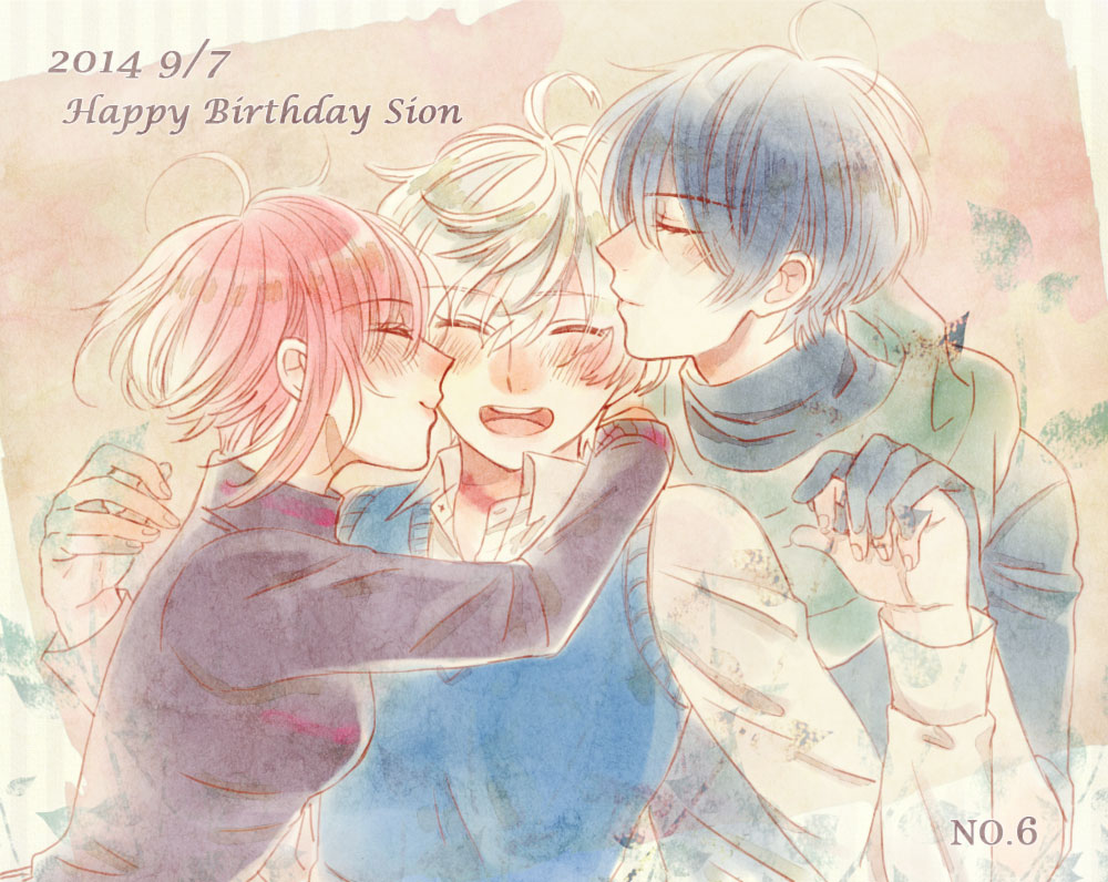 1girl 2014 2boys ahoge birthday black_hair blush cheek_kiss closed_eyes dated datte_waka gloves hand_holding happy_birthday hug interlocked_fingers kiss multiple_boys nezumi_(no.6) no.6 redhead safu scarf shion_(no.6) short_hair smile turtleneck white_hair