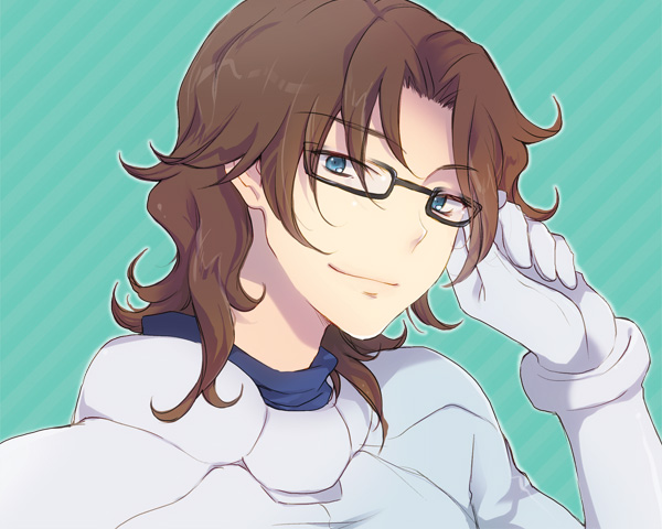 1boy adjusting_glasses aqua_background black-framed_eyewear blue_eyes bodysuit brown_hair closed_mouth diagonal-striped_background eyebrows_visible_through_hair glasses grey_bodysuit gundam gundam_00 lockon_stratos long_hair lyle_dylandy male_focus plum_(arch) smile solo striped striped_background upper_body