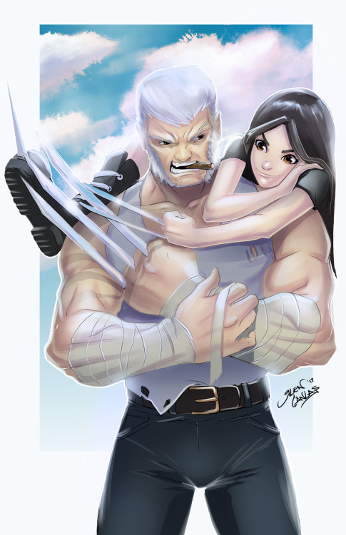 1girl bangs brown_hair claws facing_viewer father_and_daughter laura_kinney logan_(movie) long_hair long_sleeves looking_at_viewer marvel weapon wolverine x-23 x-men