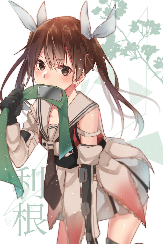 1girl blush brown_eyes brown_hair cosplay elbow_gloves gloves hair_ribbon headband headband_removed jintsuu_(kantai_collection) jintsuu_(kantai_collection)_(cosplay) kantai_collection long_hair mouth_hold necktie pleated_skirt remodel_(kantai_collection) ribbon rinto_(rint_rnt) sailor_collar skirt solo tone_(kantai_collection) twintails white_background