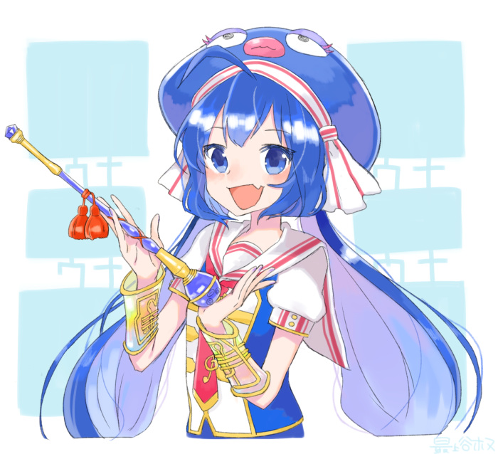 1girl :d ahoge animal_hat blue_background blue_eyes blue_hair blue_nails bracer braid buttons collared_shirt eel_hat eyebrows_visible_through_hair fang fingernails gem hat hat_ribbon holding holding_wand long_hair looking_at_viewer low_twintails mogamiya_honu multicolored multicolored_background nail_polish necktie open_mouth otomachi_una puffy_short_sleeves puffy_sleeves red_necktie ribbon sailor_collar shiny shiny_hair shirt short_sleeves sleeve_cuffs smile solo tassel treble_clef tsurime twin_braids twintails two-tone_background upper_body very_long_hair vocaloid wand white_background white_sailor_collar