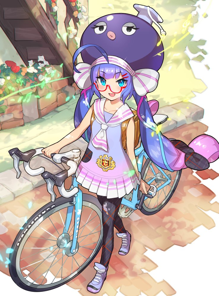 1girl :d ahoge animal_hat aqua_eyes aqua_ribbon arm_at_side ascot backpack bag bangs bicycle black_legwear blue_dress blue_footwear blue_hair blue_shoes blunt_bangs blush child chromatic_aberration clenched_hand collarbone collared_dress day dress eel_hat eyebrows_visible_through_hair fingernails flower full_body glasses gradient_dress gradient_footwear gradient_ribbon ground_vehicle hair_ornament hair_ribbon hairclip hat huge_ahoge lavender_hair leaf long_hair looking_at_viewer low_twintails mortarboard multicolored multicolored_clothes multicolored_dress multicolored_hair multicolored_ribbon multicolored_shoes official_art open_mouth orange_flower otomachi_una outdoors pantyhose pavement pink_dress pink_hair pink_ribbon plaid plaid_legwear plaid_ribbon pleated_dress purple_hair purple_shoes railing red-framed_eyewear red_flower ribbon sailor_collar sailor_dress saitou_naoki school_uniform semi-rimless_glasses shadow shoe_ribbon shoelaces shoes sleeveless sleeveless_dress smile sneakers solo stairs tsurime twintails under-rim_glasses very_long_hair vocaloid walking watch watch white_dress white_flower white_ribbon white_sailor_collar