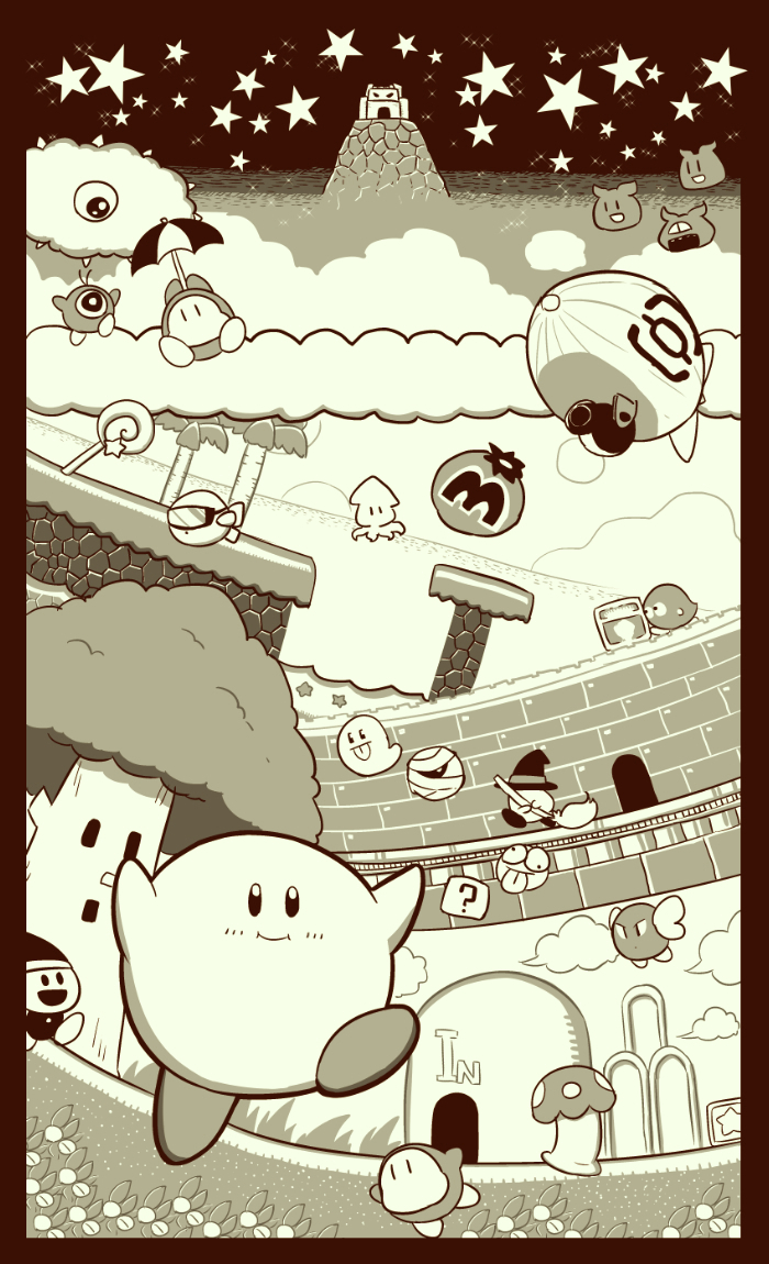 6+boys 90s ?_block adventures_of_lolo aircraft black_hat blimp blush broom cannon castle character_request dirigible english game_boy greyscale hal_laboratory_inc. hat holding holding_umbrella hoshi_no_kirby hoshi_no_kirby:_yume_no_izumi_no_monogatari hoshi_no_kirby_(game) kaboola kirby kirby's_adventure kirby's_dream_land kirby_(series) kracko lololo_(kirby) looking_at_another looking_at_viewer maxim_tomato monochrome multiple_boys naga_u nintendo no_humans parasol pink_puff_ball smile star star_(sky) starfish text tongue tongue_out tree umbrella waddle_dee waddle_doo water whispy_woods wings witch_hat