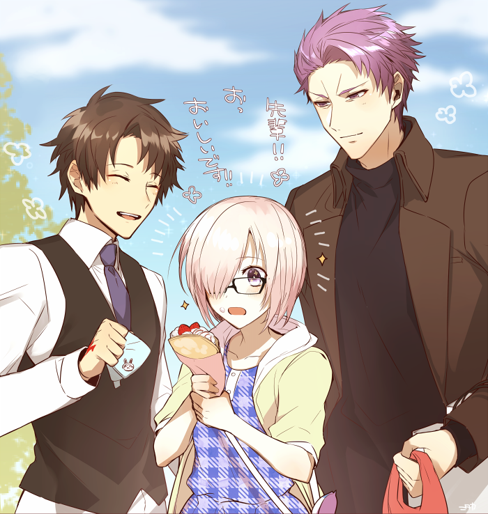 1girl 2boys adapted_costume alternate_costume black_hair blue_eyes blush commentary_request crepe day dress fate/grand_order fate_(series) father_and_daughter food fujikiti fujimaru_ritsuka_(male) glasses hair_over_one_eye lancelot_(fate/grand_order) multiple_boys necktie open_mouth outdoors plaid plaid_dress purple_hair shielder_(fate/grand_order) short_hair smile translation_request unmoving_pattern violet_eyes