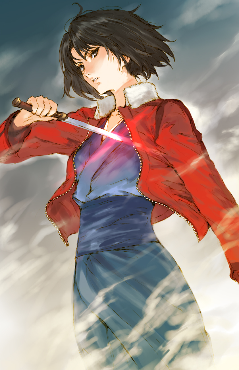 1girl black_hair brown_eyes cowboy_shot fog fur_trim glowing glowing_weapon highres holding holding_knife jacket japanese_clothes kara_no_kyoukai kimono knife looking_at_viewer makimura_shunsuke open_clothes open_jacket parted_lips ryougi_shiki solo standing weapon