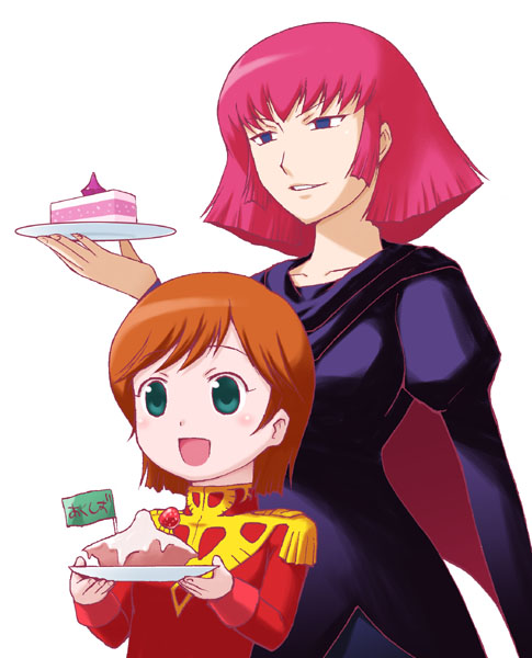 2girls blue_eyes brown_hair cake epaulettes food green_eyes gundam haman_karn mineva_lao_zabi multiple_girls orange_hair pastry pink_hair pun redhead short_hair simple_background violet_eyes yuuki_shin'ichi zeta_gundam