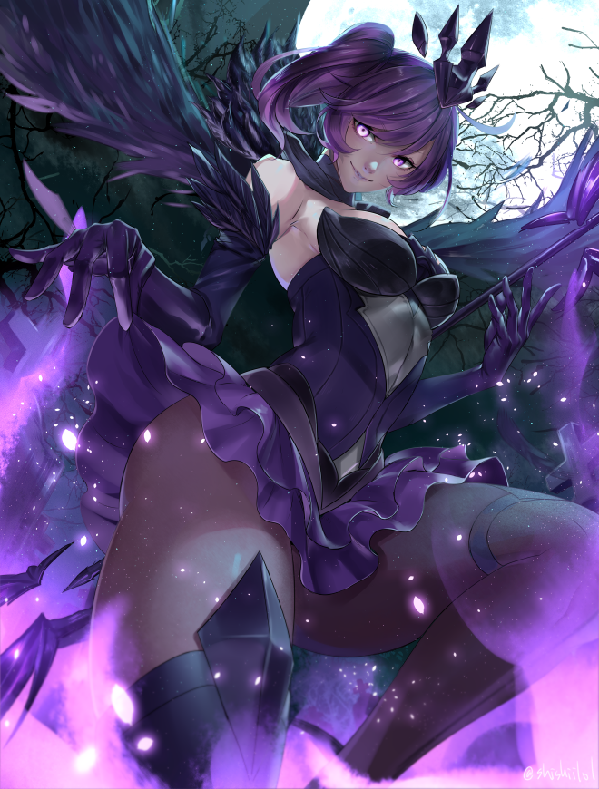 1girl bad_perspective bangs bare_shoulders boots breasts bright_pupils covered_navel dark_elementalist_lux dress elbow_gloves elementalist_lux fake_wings feather_trim frilled_skirt frills from_below full_moon gloves graveyard hair_ornament hikarusorano league_of_legends lipstick looking_at_viewer luxanna_crownguard makeup medium_breasts moon night pantyhose perspective ponytail purple_dress purple_hair purple_lipstick short_dress single_thighhigh skirt skirt_lift smile solo staff strapless strapless_dress thigh-highs thigh_boots thighs tombstone tree violet_eyes wings