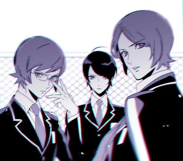3boys glasses kurosu_jun mako_(ikuji-san) male_focus monochrome multiple_boys necktie persona persona_2 school_uniform sideburns suou_katsuya suou_tatsuya time_paradox younger