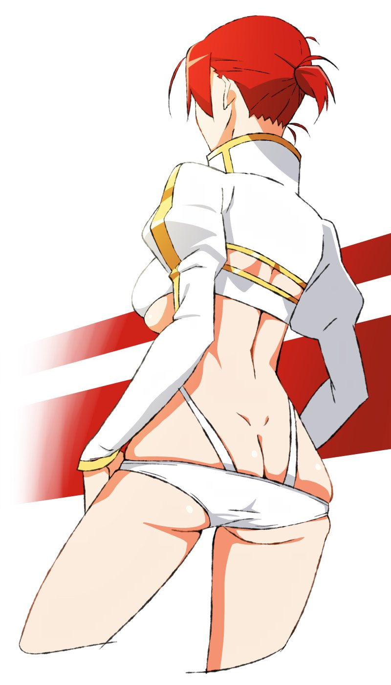 1girl akitetsu ass boudica_(fate/grand_order) butt_crack dimples_of_venus fate/grand_order fate_(series) from_behind hands_on_hips high_collar highres juliet_sleeves long_sleeves o-ring_bikini o-ring_bottom ponytail puffy_sleeves redhead short_hair skindentation solo