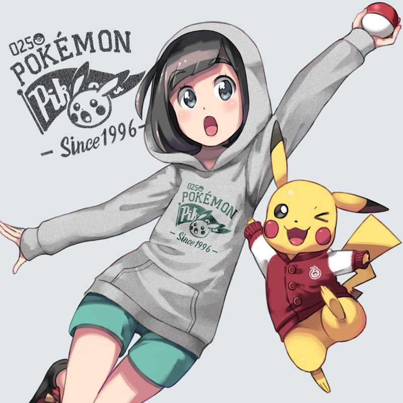 >_o 1996 1girl :o ;3 alternate_costume arm_up black_hair black_shoes blush buttons character_name clothed_pokemon clothes_writing eyebrows_visible_through_hair female_protagonist_(pokemon_sm) green_shorts grey_background holding holding_poke_ball hood hood_up hoodie jacket long_sleeves looking_at_viewer one_eye_closed one_leg_raised open_mouth pikachu pocket poke_ball pokemon pokemon_(creature) pokemon_(game) pokemon_rgby pokemon_sm red_jacket shoes short_hair short_shorts shorts simple_background sleeves_past_wrists tareme thigh_gap you_(pokemon_sm) yuta0115
