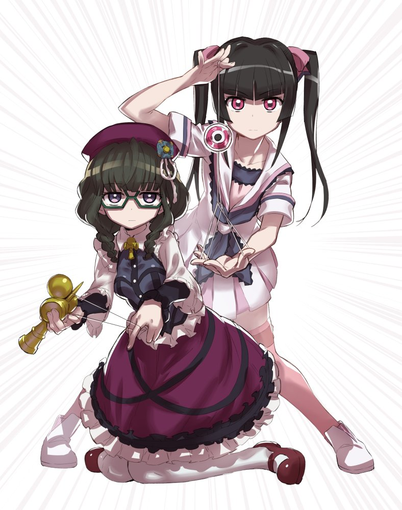 2girls black_hair braid breasts closed_mouth commentary_request dress emphasis_lines frills full_body glasses green-framed_eyewear hair_ornament hat kendama kneeling long_hair looking_at_viewer multiple_girls murakami_hisashi open_mouth pink_eyes pink_legwear prelati_(symphogear) purple_dress semi-rimless_glasses senki_zesshou_symphogear shoes small_breasts string string_play_spider_baby thigh-highs tsukuyomi_shirabe twin_braids twintails violet_eyes white_legwear yo-yo