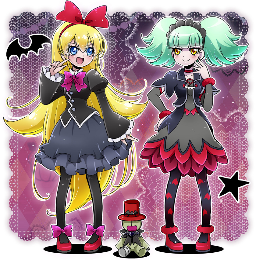 2girls :d animal_print aqua_hair argyle argyle_background arm_warmers bat_print biburi_(precure) biburi_(precure)_(cosplay) black_hairband black_legwear black_shirt black_skirt blonde_hair blue_eyes bow cokata cosplay costume_switch cropped_jacket dokidoki!_precure doll dress full_body grey_dress hair_bow hairband hand_on_hip hat juliet_sleeves kirakira_precure_a_la_mode long_hair long_sleeves looking_at_another multiple_girls open_mouth pantyhose pink_bow precure puffy_sleeves purple_background red_bow red_choker red_hairband red_hat red_shoes regina_(dokidoki!_precure) regina_(dokidoki!_precure)_(cosplay) shirt shoes short_hair skirt smile standing star top_hat trait_connection twintails very_long_hair yellow_eyes