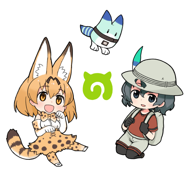 2girls animal_ears backpack bag black_gloves black_hair bucket_hat chibi gloves hat hat_feather japari_symbol kaban_(kemono_friends) kemono_friends lucky_beast_(kemono_friends) moru_(monaka) multiple_girls pantyhose red_shirt serval_(kemono_friends) serval_ears serval_print serval_tail shirt short_hair striped_tail tail wavy_hair