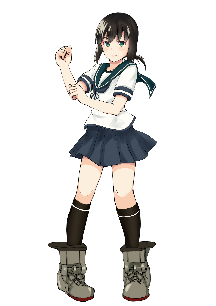 10s 1girl black_hair black_legwear blue_sailor_collar blue_skirt fubuki_(kantai_collection) full_body green_eyes highres kantai_collection ken_hayasaka looking_at_viewer low_ponytail pleated_skirt ponytail pose raised_fist school_uniform short_ponytail sidelocks simple_background skirt socks solo standing white_background