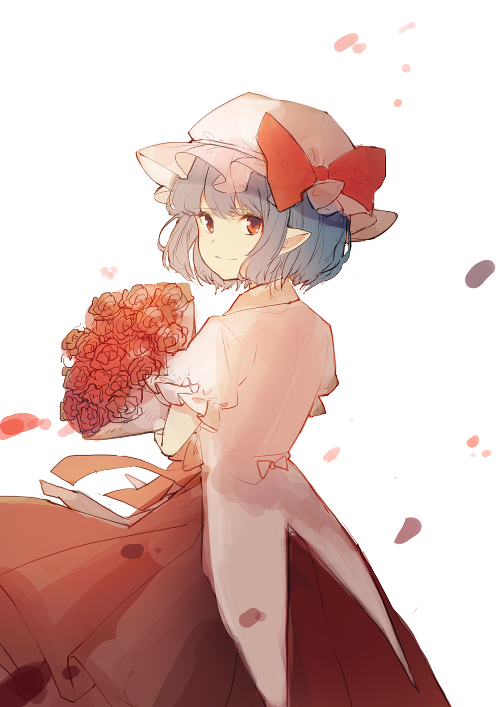 1girl bangs blue_hair bouquet bow closed_mouth collared_shirt cowboy_shot dress dress_shirt eyebrows_visible_through_hair flower from_behind ginryuu hat hat_bow highres holding holding_bouquet looking_at_viewer looking_back mob_cap petals pointy_ears puffy_short_sleeves puffy_sleeves red_bow red_dress red_eyes red_flower red_rose remilia_scarlet rose shirt short_hair short_sleeves simple_background skirt skirt_set smile solo touhou twisted_neck white_background white_shirt wind