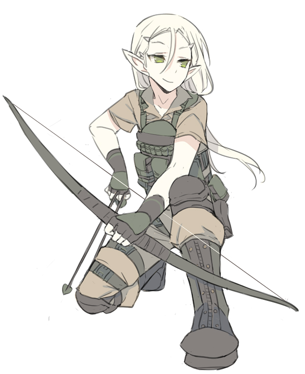 1boy androgynous arrow blade_(galaxist) blonde_hair bow_(weapon) closed_mouth elf erik_burton forehead full_body green_eyes hair_between_eyes holding_bow_(weapon) kneeling load_bearing_vest long_hair looking_to_the_side male_focus one_knee operator pointy_ears pop-up_story short_sleeves simple_background smile solo weapon white_background