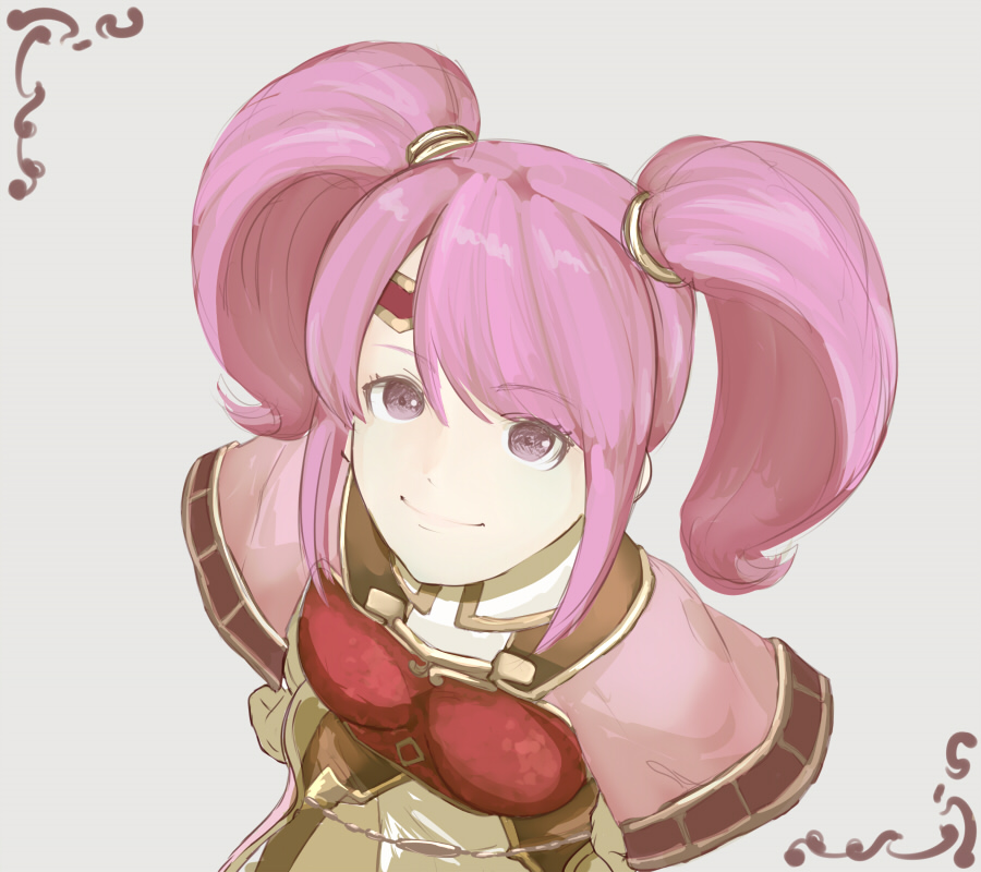 1girl breastplate circlet fire_emblem fire_emblem_echoes:_mou_hitori_no_eiyuuou gloves grey_background long_hair mae_(fire_emblem) nonji_(sayglo_halo) pink_eyes pink_hair simple_background solo twintails