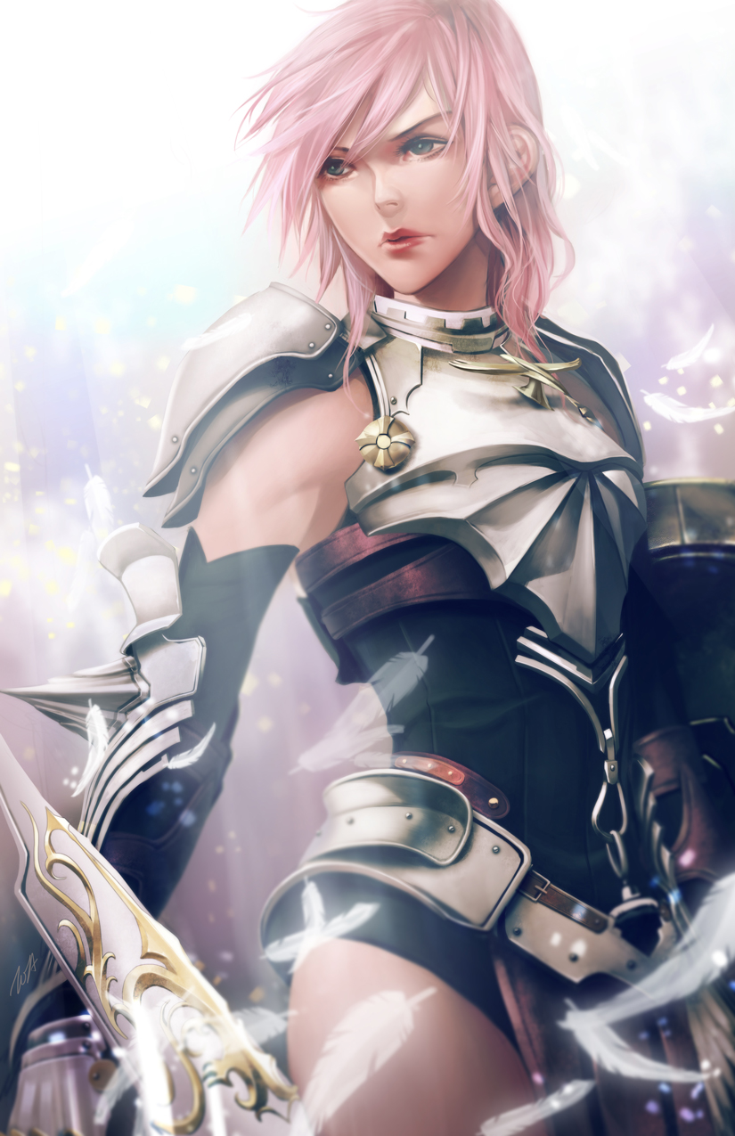 1girl armor cowboy_shot elbow_spikes feathers final_fantasy final_fantasy_xiii gauntlets grey_eyes highres lightning_farron looking_at_viewer pink_hair shoulder_armor signature solo standing tooaya white_feathers