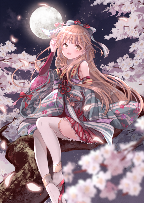 1girl bangs blurry blush brown_eyes brown_hair cherry_blossoms depth_of_field detached_sleeves floral_print from_side full_moon hair_ornament hand_in_hair hand_up idolmaster idolmaster_cinderella_girls idolmaster_cinderella_girls_starlight_stage japanese_clothes kimono long_hair looking_at_viewer moon night open_mouth oro_ponzu outdoors petals sitting smile solo thigh-highs yorita_yoshino