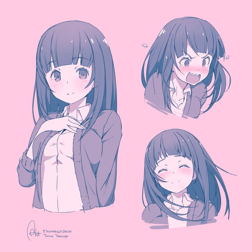 1girl angry artist_name azumi_akitake bangs blunt_bangs blush cardigan character_name closed_eyes collared_shirt copyright_name eromanga_sensei expressions eyebrows_visible_through_hair hand_on_own_chest light_smile long_hair looking_at_viewer monochrome nose_blush open_mouth pink_background shirt simple_background smile takasago_tomoe upper_body