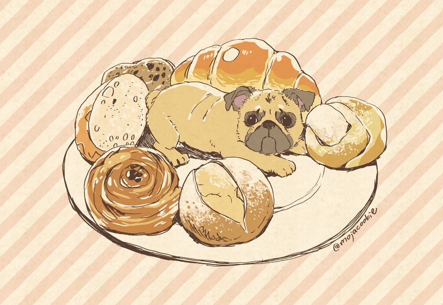 bread croissant dog food hair_bun mojacookie no_humans pastry pug signature striped striped_background