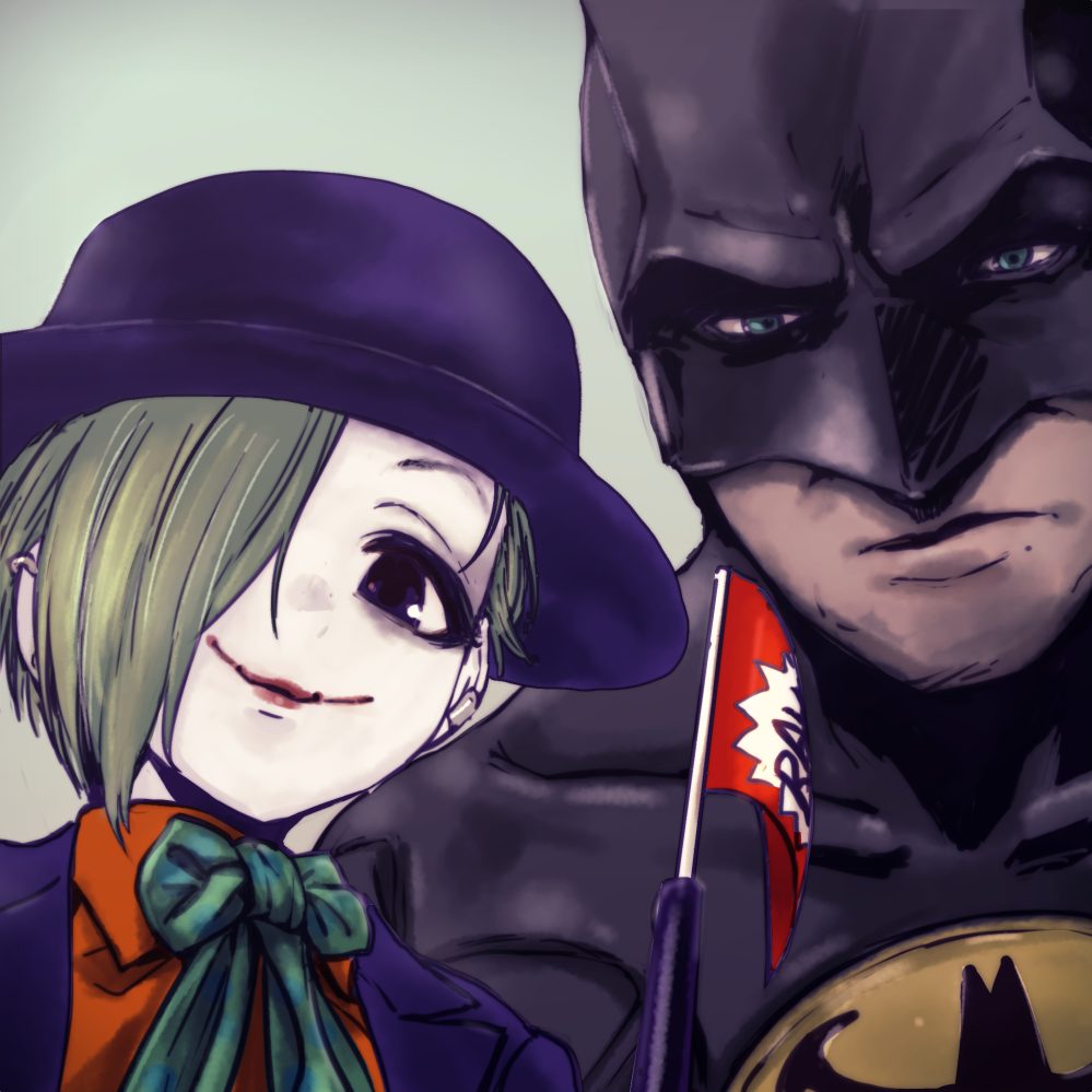 1boy 1girl bags_under_eyes batman batman_(series) blue_eyes bow bowtie brown_eyes commentary_request cosplay crossover dokuromaru green_hair hat idolmaster idolmaster_cinderella_girls lipstick looking_at_viewer makeup mask one_eye_covered orange_shirt pale_face shirasaka_koume shirt smile the_joker the_joker_(cosplay) white_background