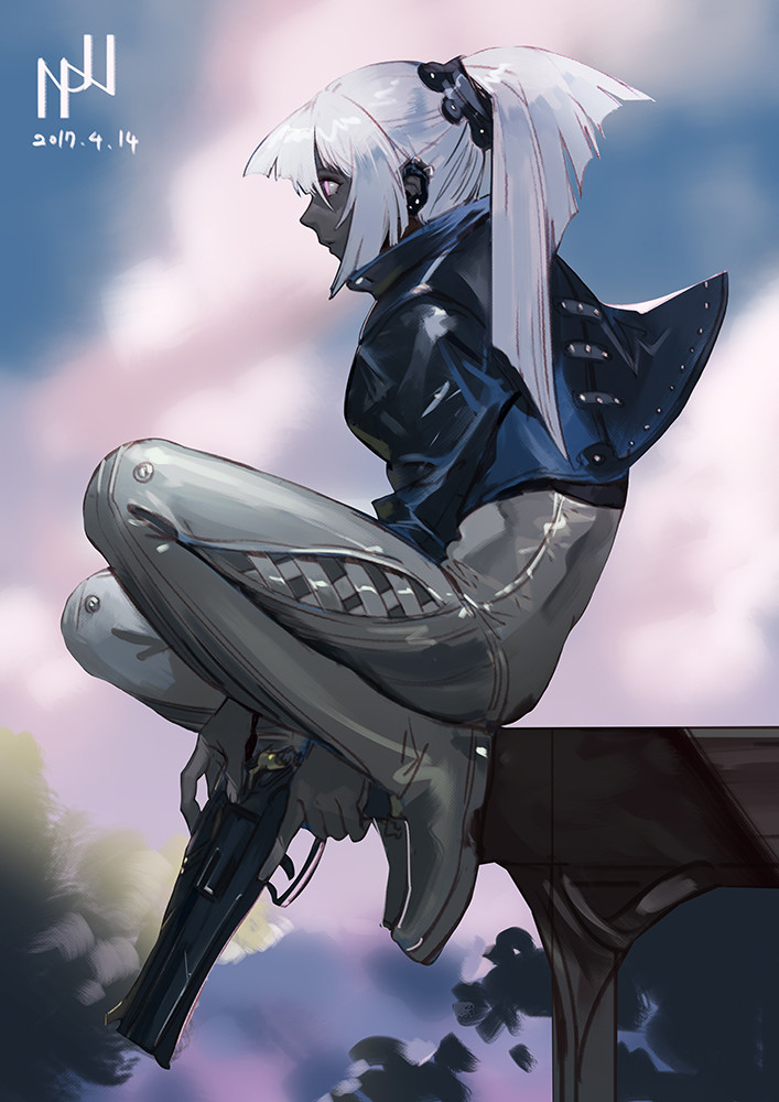 1girl artist_signature bodysuit clouds dark_skin dated ear_piercing from_side gun hako_(mypixid) handgun holding holding_gun holding_weapon jacket leather leather_jacket looking_to_the_side original piercing pistol ponytail sky solo trigger_discipline weapon white_hair
