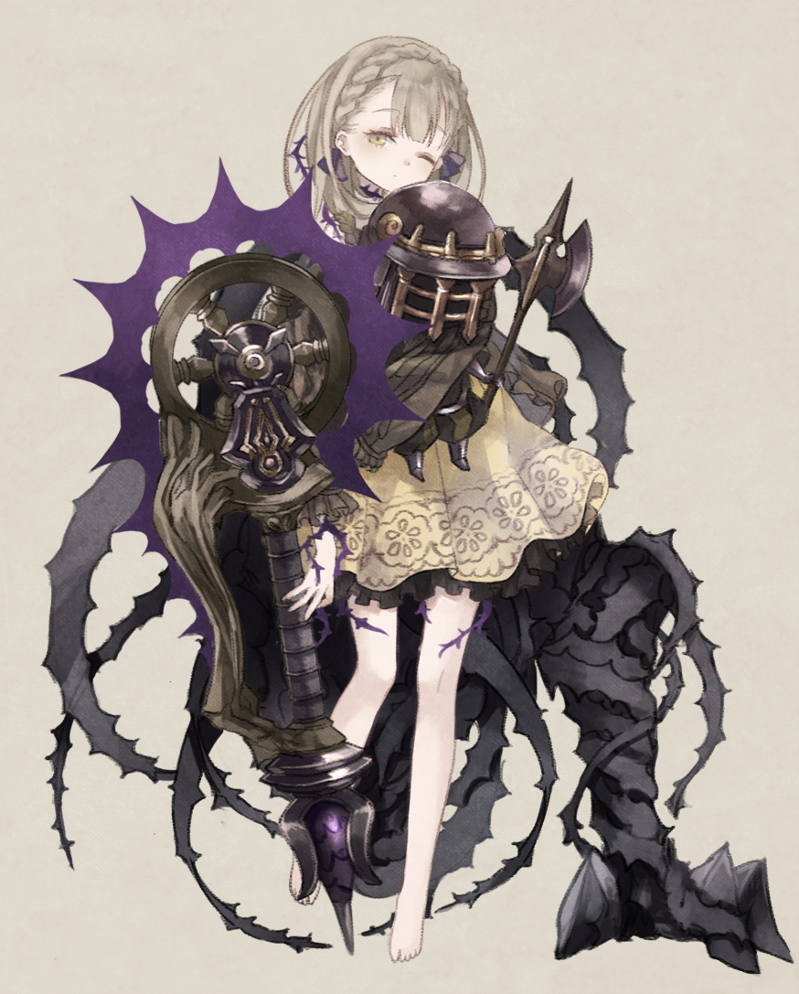 1girl armor axe bangs barefoot braid closed_mouth crown_braid expressionless eyebrows_visible_through_hair fantasy full_body grey_background grey_eyes grey_hair holding holding_weapon looking_at_viewer one_eye_closed oro_ponzu puppet simple_background sinoalice solo standing weapon