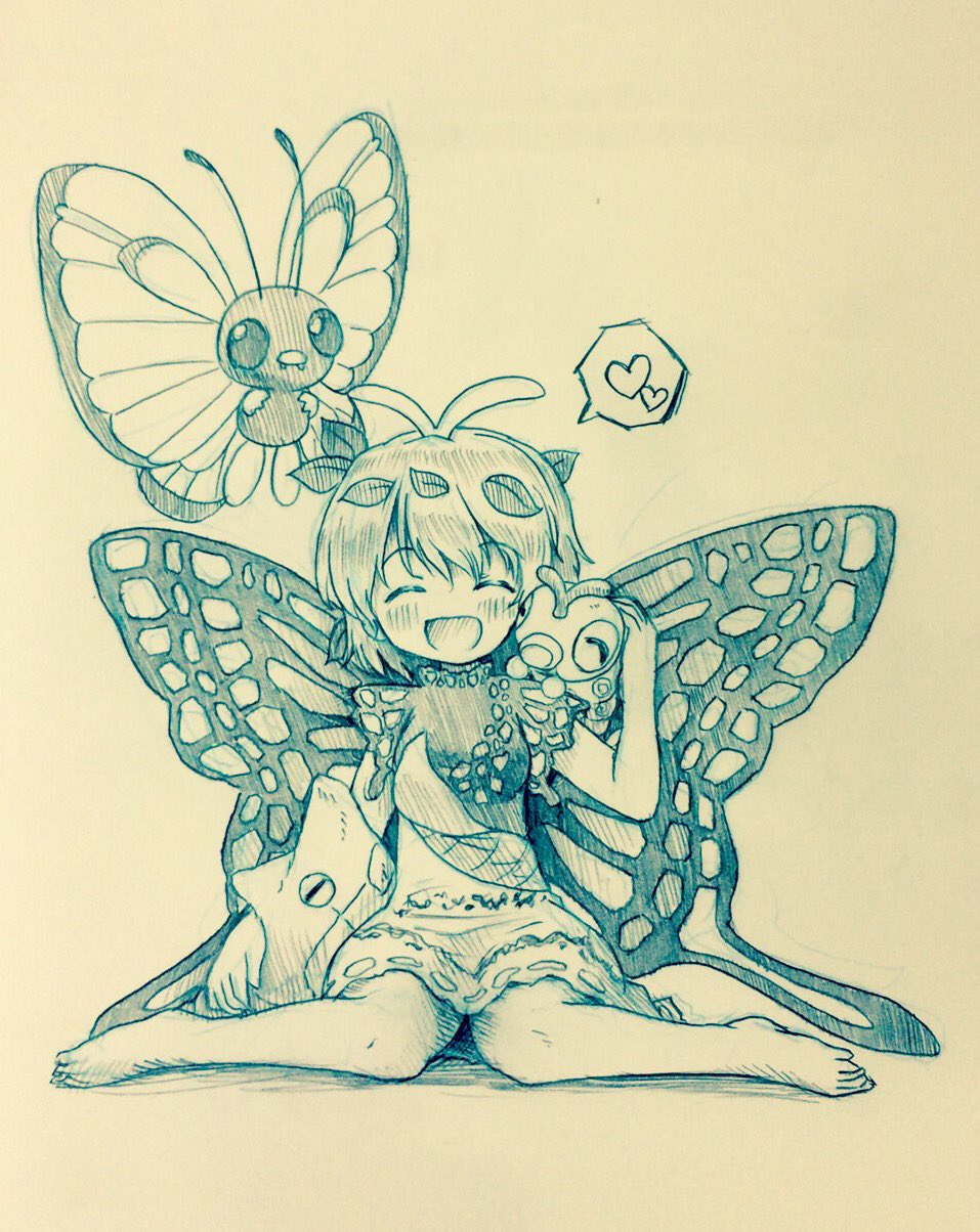 1girl ^_^ antennae arinu barefoot blush butterfly_wings butterfree caterpie closed_eyes dress eternity_larva heart highres insect_girl leaf leaf_on_head metapod on_shoulder pokemon pokemon_(creature) short_sleeves sitting spoken_heart touhou traditional_media wariza wings