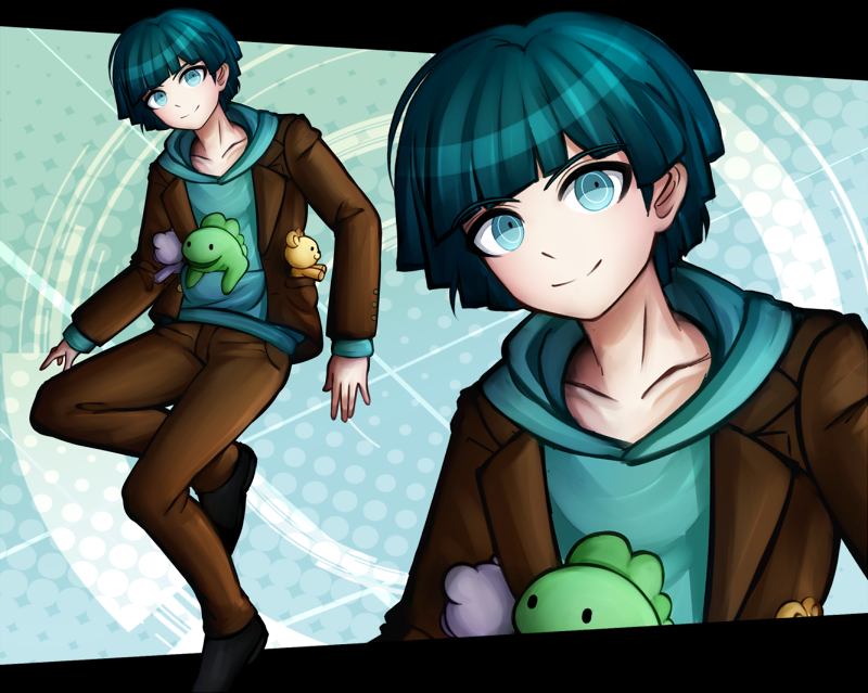 1boy blue_background blue_eyes blue_hair bowl_cut closed_mouth danganronpa danganronpa_3 hood hoodie jacket komatsuzaki_rui_(style) kurokku-tokei layered_clothing male_focus open_clothes open_jacket short_hair solo someya_ryouta standing standing_on_one_leg stuffed_animal stuffed_toy teddy_bear zoom_layer