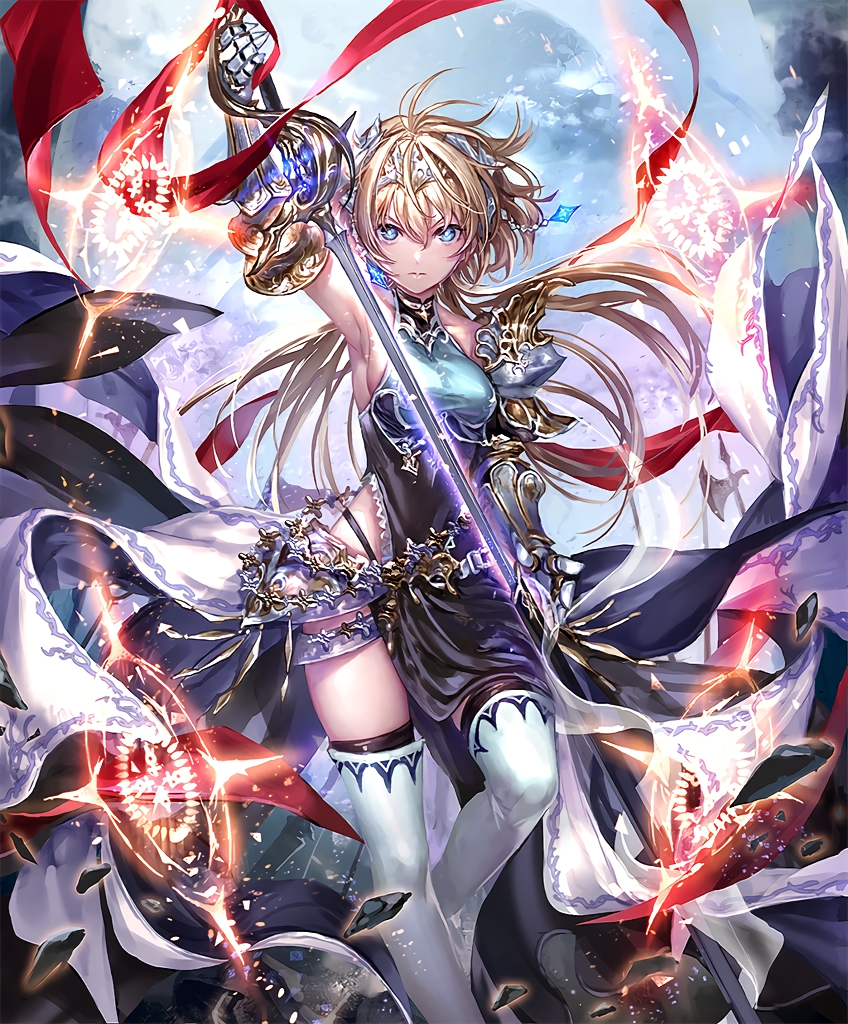 1girl armor artist_request blonde_hair blue_eyes boots breasts crown cygames floating_rock gem gloves glowing glowing_sword glowing_weapon holding holding_sword holding_weapon long_hair magic_circle official_art roland_(shadowverse) scarf serious shadowverse sheath shingeki_no_bahamut sideboob sword thigh-highs thigh_boots unsheathing weapon