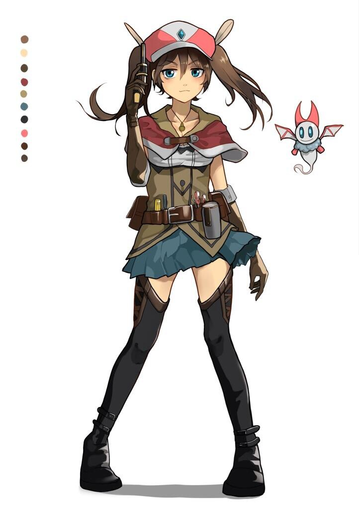 1girl :3 belt black_boots blue_eyes blush boots brown_gloves brown_hair collarbone elbow_gloves eyebrows_visible_through_hair gloves hat jewelry looking_at_viewer necklace original pine_(yellowpine112) short_hair short_twintails sketch smile thigh-highs thigh_boots twintails