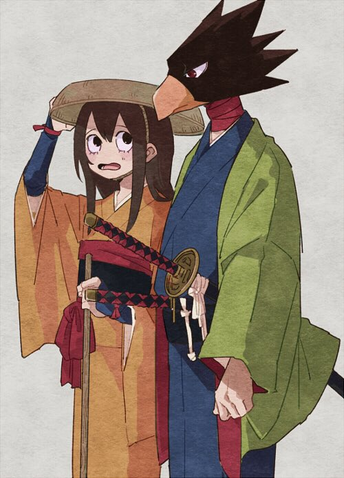 1boy 1girl alternate_costume animal_head asui_tsuyu bird black_eyes black_hair blush boku_no_hero_academia frog_girl hat japanese_clothes kimono long_hair long_sleeves looking_at_another red_eyes sword tokoyami_fumikage weapon wide_sleeves z8koo