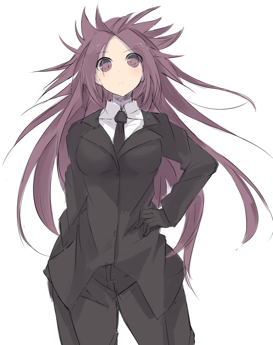 10s black_necktie blazer formal hand_on_hip highres jacket jun'you_(kantai_collection) kantai_collection long_hair nao_(qqqbb) necktie pant_suit pants purple_hair simple_background spiky_hair suit very_long_hair violet_eyes
