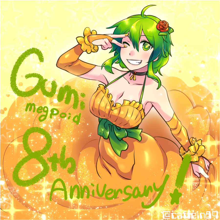 1girl ;d ahoge anniversary arm_up bangs bare_shoulders black_choker blush bow breasts bridal_gauntlets caffein character_name choker cleavage collarbone commentary_request dress elbow_gloves eyebrows_visible_through_hair fingerless_gloves flower gloves gradient gradient_background green_bow green_eyes green_hair grin gumi hair_between_eyes hair_flower hair_ornament halterneck large_breasts looking_at_viewer nail_polish one_eye_closed open_mouth orange_dress orange_gloves orange_nails parted_lips rose rose_hair_ornament sash short_hair_with_long_locks sidelocks skirt_hold sleeveless sleeveless_dress smile solo sparkle standing star star-shaped_pupils symbol-shaped_pupils teeth underbust v v_over_eye vocaloid yellow_background