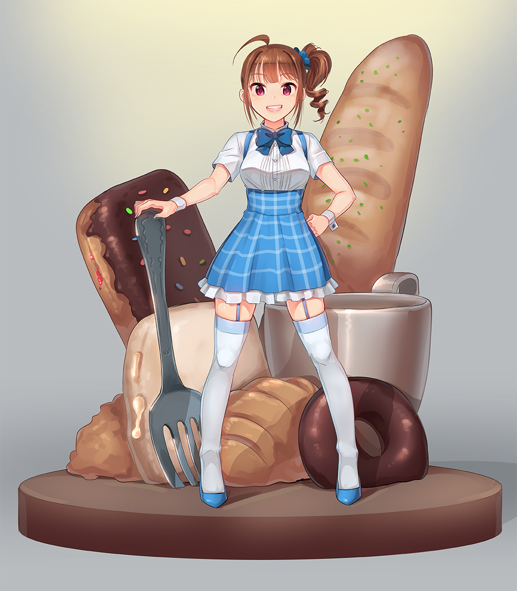 1girl :d ahoge bangs blue_bow blue_bowtie blue_shoes blue_skirt bow bowtie bread breasts brown_hair coffee_cup collared_shirt croissant doughnut drill_hair eyebrows_visible_through_hair food fork frilled_skirt frills full_body garter_straps gradient gradient_background grin hair_ornament hair_scrunchie hand_on_hip idolmaster idolmaster_million_live! kamille_(vcx68) kobeya koubeya_uniform long_hair looking_at_viewer nail_polish open_mouth oversized_object pastry plaid plaid_skirt scrunchie shirt shoes short_sleeves side_ponytail sidelocks skirt smile solo standing suspender_skirt suspenders teeth thigh-highs two-tone_background uniform violet_eyes white_legwear white_shirt wing_collar wrist_cuffs yokoyama_nao